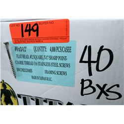 "40 Boxes #8x2-1/2"" Framing Screws, Stainless Steel - Total Screws = 160,000"