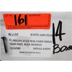 "14 Boxes #6x1-5/8"" Drywall Screws, Black Phosphate - Total Screws = 140,000"