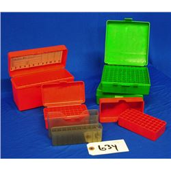 Box lot of 6 assorted plastic ammo cases