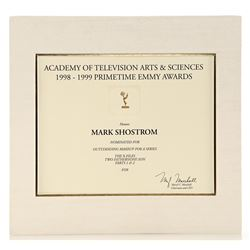 Mark Shostrom's Emmy Nomination Certificate For Outstanding Makeup For A Series - THE X-FILES (1993