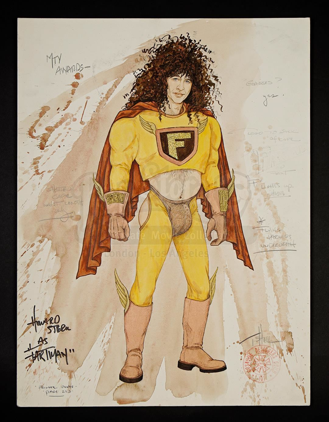 Image 1 fartman hand drawn costume sketch from mtv awards 1992 mtv video