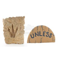 Dr. Seuss Office Carved Foam Dinosaur Footprint Relief and 'Unless' Stone - IN SEARCH OF DR. SEUSS (