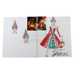 Hand-Drawn Miss Yvonne (Lynne Marie Stewart) Christmas Costume and Christmas Tree Headdress Designs