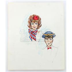 Hand-Drawn Pee-Wee Herman (Paul Reubens) and Miss Yvonne (Lynne Marie Stewart) Costume Design - PEE-