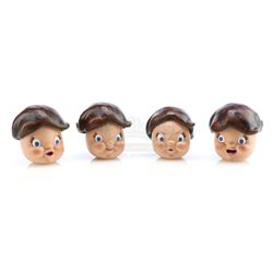 Four Campbell's Soup Kids' Resin Stop-Motion Puppet Heads - CAMPBELL'S SOUP COMMERCIALS (1950s - 196