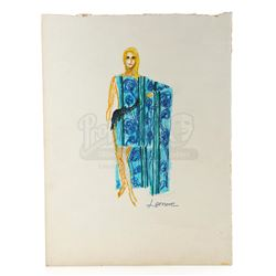 William Ware Theiss Hand-Drawn Costume Sketch Of Lenore's (Barbara Anderson) Caftan - STAR TREK: THE