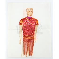 William Ware Theiss Hand-Drawn Costume Sketch Of Captain R.M. Merik's (William Smithers) Roman Tunic