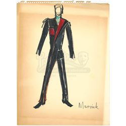 William Ware Theiss Hand-Drawn Costume Sketch Of Larry Marvick's (David Frankham) Jumpsuit - STAR TR