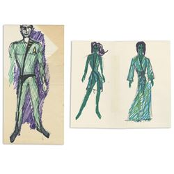 William Ware Theiss Hand-Drawn Design Sketches Of USS Enterprise Costumes - STAR TREK: THE ORIGINAL