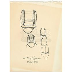 William Ware Theiss Hand-Drawn Costume Sketch Of Environmental Suit Helmet - STAR TREK: THE ORIGINAL