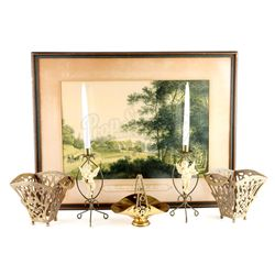 Ruth Fisher's (Frances Conroy) Brass Planters, Basket, Candlestick Holders and Framed Print - SIX FE