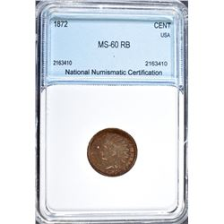 1872 INDIAN HEAD CENT NNC CH BU RB