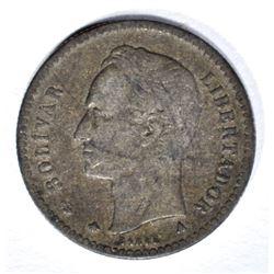1874 A SILVER 10 CENTS  VENEZUELA