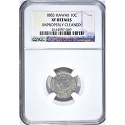 1883 SILVER 10 CENTS HAWAII NGC XF DETAILS