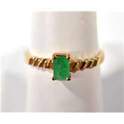 10kt GOLD & EMERALD RING  SIZE 8