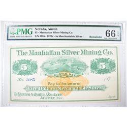 1870s $5 MANHATTAN SILVER MINING CO.
