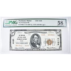 1929 TY.2 $5 NATIONAL CURRENCY  PMG 58