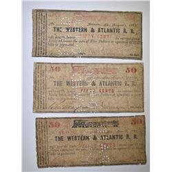 3 - 1862 WESTERN & ATLANTIC R.R. FIFTY CENTS