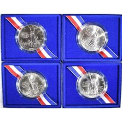 4-UNC 1986  LIBERTY SILVER DOLLARS ORIG BOXES/COA