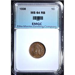 1908 INDIAN CENT, EMGC CH/GEM BU RB