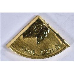 1984 CANADA ¼ oz .999 GOLD, CUT FROM A 1oz COIN