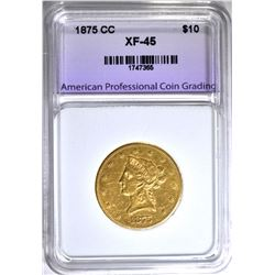 1875-CC $10.00 GOLD LIBERTY, APCG XF/AU