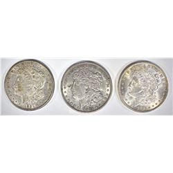 3 - MORGAN DOLLARS; 1921 XF,