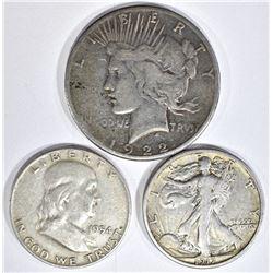 LOT: 1922-S PEACE DOLLAR, 1917-S