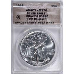 1989 AMERICAN SILVER EAGLE $1 ANACS MS70