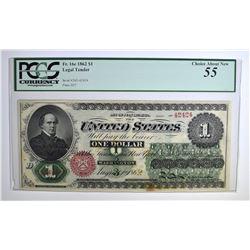 1862 $1 LEGAL TENDER PCGS 55
