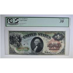 1869 $1 LEGAL TENDER PCGS 30 VF