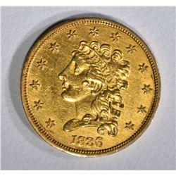1836 $2.50 GOLD BLOCK 8  CH BU