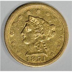 1851-O $2 1/2 GOLD LIBERTY HEAD  AU+