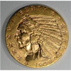 1909 $5 GOLD INDIAN HEAD CH BU