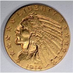 1914-S $5 GOLD INDIAN HEAD  CH BU