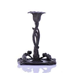 Antique Art Nouveau Metal Candle Holder