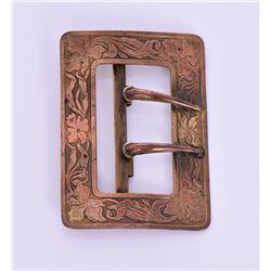 Antique Art Nouveau Copper Brass Belt Buckle