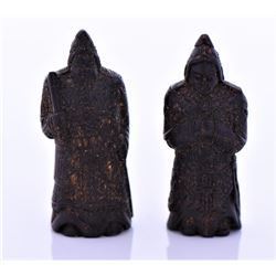 Antique Japanese Black Lacquer Wood Carved