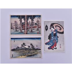 Set Of Three Japanese Woodblock Prints