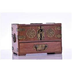 Vintage Chinese Wood Jewelry Box