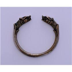 Antique Chinese Bronze Sea Serpent Bangle