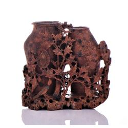 Chinese Carved Soapstone Double Flower