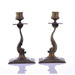 Antique Pair Of Solid Brass Fish Candle