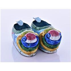 Antique Chinese Peking Slippers Enamel