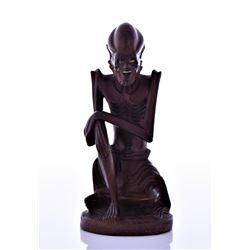 Wood Carved Skinny Louhan Figure