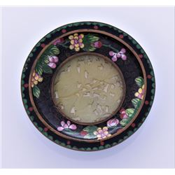 Chinese Cloisonne Plate With Carved Jade