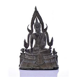 Antique Thai Patinated Bronze Buddha