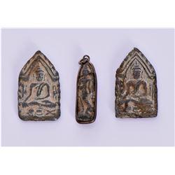 Three Antique Thai Buddha Amulets