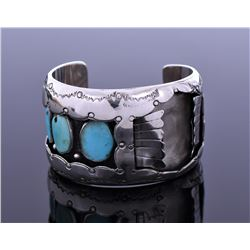 E.M, Turquoise Sterling Silver Watch Cuff