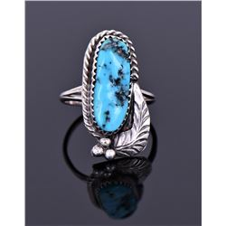 Sterling And Blue Turquoise Ring Signed